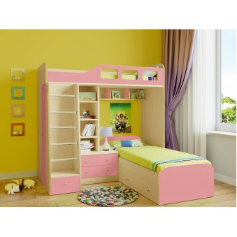 Детская двухъярусная кровать Астра 4 Дуб молочный - Розовый