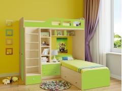 Двухъярусная кровать Астра 4 Дуб молочный - Салатовый