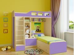 Двухъярусная кровать Астра 4 Дуб молочный - Фиолетовый