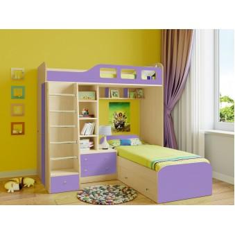 Детская двухъярусная кровать Астра 4 Дуб молочный - Фиолетовый