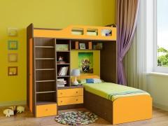 Двухъярусная кровать Астра 4 Дуб шамони - Оранжевый