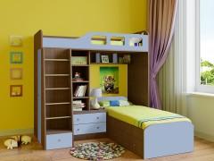 Двухъярусная кровать Астра 4 Дуб шамони - Голубой