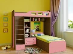 Двухъярусная кровать Астра 4 Дуб шамони - Розовый