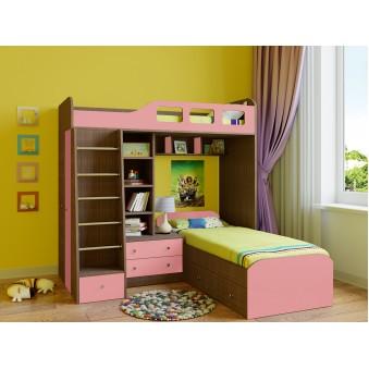 Детская двухъярусная кровать Астра 4 Дуб шамони - Розовый