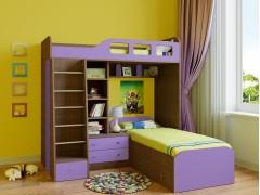 Двухъярусная кровать Астра 4 Дуб шамони - Фиолетовый