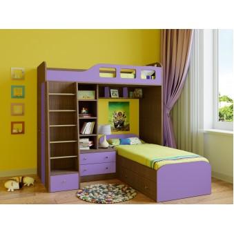 Детская двухъярусная кровать Астра 4 Дуб шамони - Фиолетовый