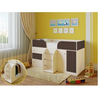 Детская кровать-чердак Астра 5 Дуб молочный - Дуб шамони