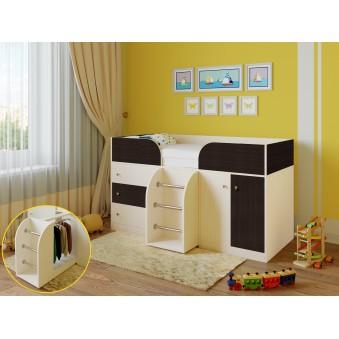 Детская кровать-чердак Астра 5 Дуб молочный - Венге
