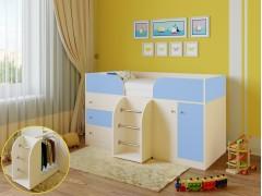 Кровать-чердак Астра 5 Дуб молочный - Голубой
