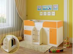 Кровать-чердак Астра 5 Дуб молочный - Оранжевый