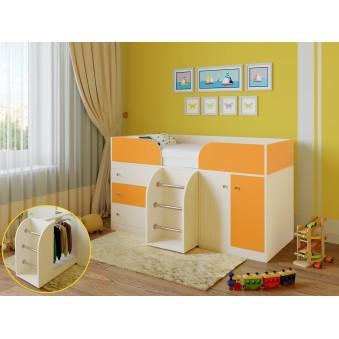 Детская кровать-чердак Астра 5 Дуб молочный - Оранжевый