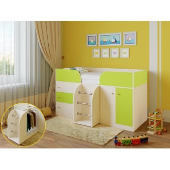 Детская кровать-чердак Астра 5 Дуб молочный - Салатовый
