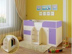 Кровать-чердак Астра 5 Дуб молочный - Фиолетовый