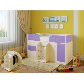 Детская кровать-чердак Астра 5 Дуб молочный - Фиолетовый