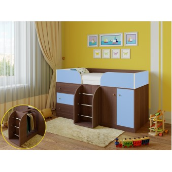 Детская кровать-чердак Астра 5 Дуб шамони - Голубой