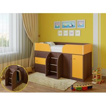 Детская кровать-чердак Астра 5 Дуб шамони - Оранжевый