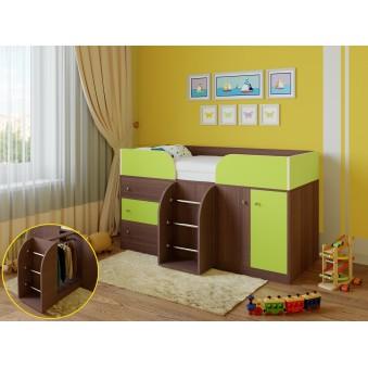 Детская кровать-чердак Астра 5 Дуб шамони - Салатовый