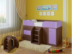 Кровать-чердак Астра 5 Дуб шамони - Фиолетовый