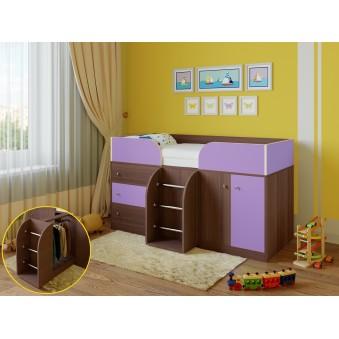 Детская кровать-чердак Астра 5 Дуб шамони - Фиолетовый