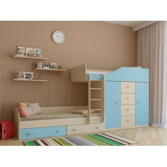 Детская двухъярусная кровать Астра 6 Дуб молочный - Голубой
