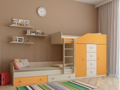 Двухъярусная кровать Астра 6 Дуб молочный - Оранжевый