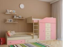 Двухъярусная кровать Астра 6 Дуб молочный - Розовый