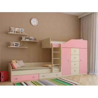 Детская двухъярусная кровать Астра 6 Дуб молочный - Розовый