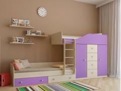 Двухъярусная кровать Астра 6 Дуб молочный - Фиолетовый