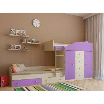 Детская двухъярусная кровать Астра 6 Дуб молочный - Фиолетовый