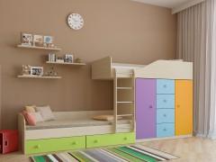Двухъярусная кровать Астра 6 Дуб молочный - Цветной голубой
