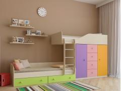 Двухъярусная кровать Астра 6 Дуб молочный - Цветной розовый