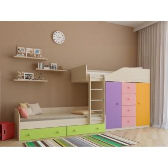 Детская двухъярусная кровать Астра 6 Дуб молочный - Цветной розовый