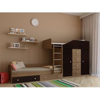 Детская двухъярусная кровать Астра 6 Дуб шамони - Венге
