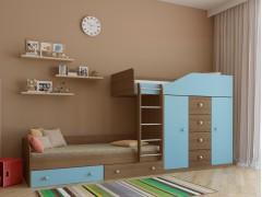 Двухъярусная кровать Астра 6 Дуб шамони - Голубой