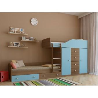 Детская двухъярусная кровать Астра 6 Дуб шамони - Голубой