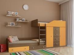 Двухъярусная кровать Астра 6 Дуб шамони - Оранжевый