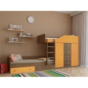 Детская двухъярусная кровать Астра 6 Дуб шамони - Оранжевый