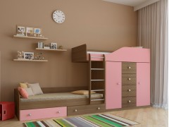 Двухъярусная кровать Астра 6 Дуб шамони - Розовый