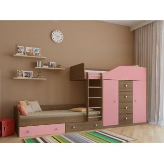 Детская двухъярусная кровать Астра 6 Дуб шамони - Розовый