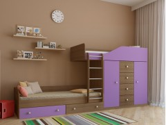 Двухъярусная кровать Астра 6 Дуб шамони - Фиолетовый