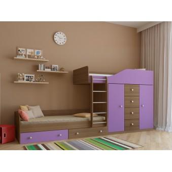 Детская двухъярусная кровать Астра 6 Дуб шамони - Фиолетовый