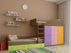 Двухъярусная кровать Астра 6 Дуб шамони - Цветной розовый