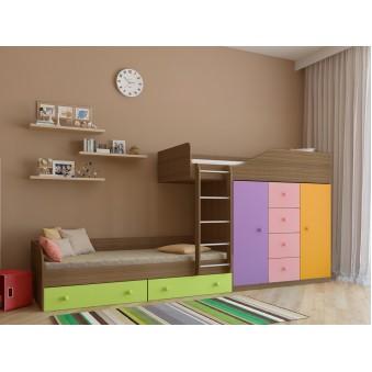 Детская двухъярусная кровать Астра 6 Дуб шамони - Цветной розовый