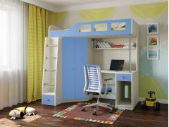 Кровать-чердак Астра 7 Дуб молочный - Голубой