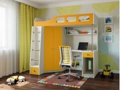 Кровать-чердак Астра 7 Дуб молочный - Оранжевый