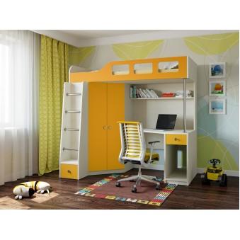 Детская кровать-чердак Астра 7 Дуб молочный - Оранжевый