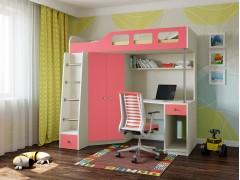 Кровать-чердак Астра 7 Дуб молочный - Розовый