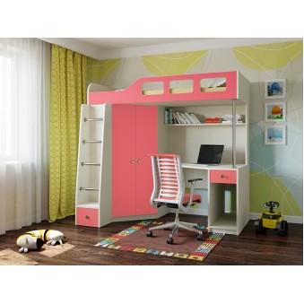Детская кровать-чердак Астра 7 Дуб молочный - Розовый