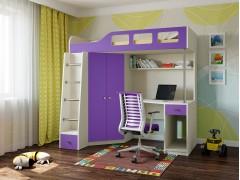 Кровать-чердак Астра 7 Дуб молочный - Фиолетовый