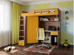 Кровать-чердак Астра 7 Дуб шамони - Оранжевый